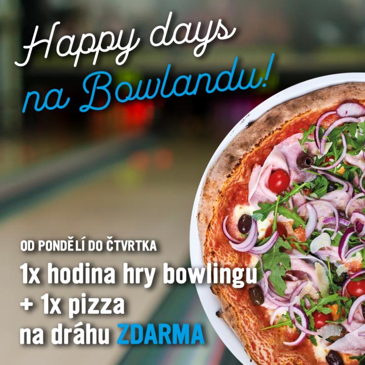 AKCE – Happy days na Bowlandu – k hodině bowlingu pizza ZDARMA je zpět!